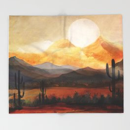Desert in the Golden Sun Glow Throw Blanket