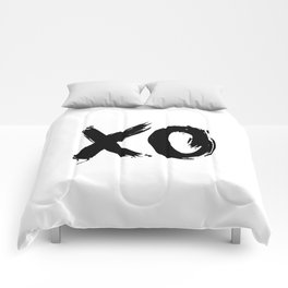 XO Hugs and Kisses black and white xoxo gift for her girlfriend bedroom art and home room wall decor Comforters