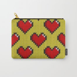 Knitted heart pattern - yellow Carry-All Pouch