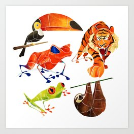 Rainforest animals 2 Art Print