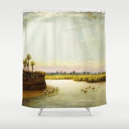 1873 Classical Masterpiece 'White Pelicans in Florida' by George Harvey Shower Curtain