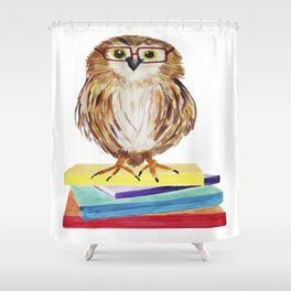 Reading Owl Shower Curtain