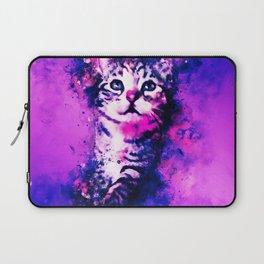 pianca baby cat kitten splatter watercolor purple pink Laptop Sleeve