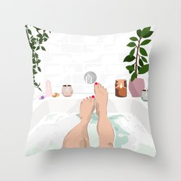 Bathtub Love Throw Pillow