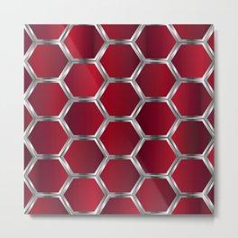 Metallic red and silver geometric pattern Metal Print