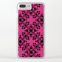 Vintage Brocade Damask Pink Yarrow Clear iPhone Case