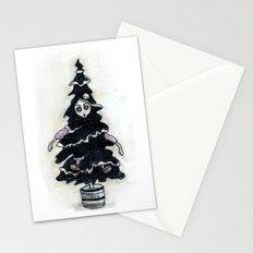 Black Xmas Tree Stationery Cards