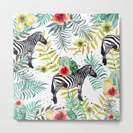 Zebra, cactus and flowers Metal Print