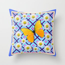 Yellow Butterfly on  Blue-pink Shasta Daisy Abstract Pattern Throw Pillow