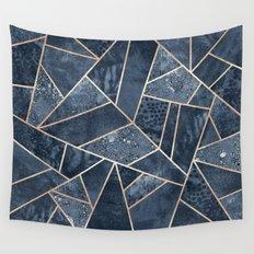 Soft Dark Blue Stone Wall Tapestry