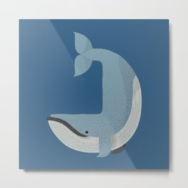 Whimsy Blue Whale Metal Print