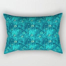 Teal Flowers Rectangular Pillow