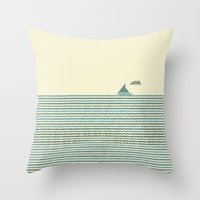 sailboat Throw Pillows featuring SailBoat by Jeremy Lobdell