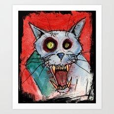 Blue Rage Zombie Cat Art Print