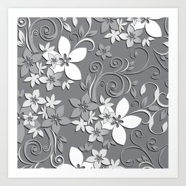Flowers wall paper 3 Art Print