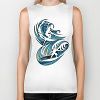 surfing Biker Tanks featuring Surfing by A Laidig