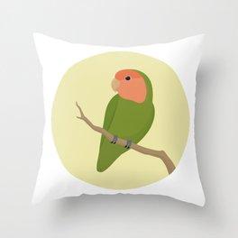 Rosy Faced Lovebird Throw Pillow
