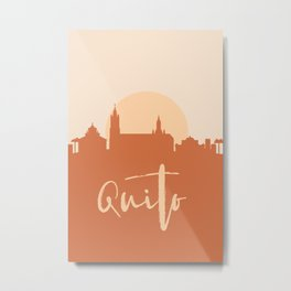 QUITO ECUADOR CITY SUN SKYLINE EARTH TONES Metal Print