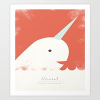 narwhal Art Prints featuring Narwhal by Amy Sullivan