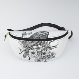 Finch on cherry branch Fanny Pack
