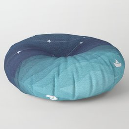 Garlands of stars, watercolor teal ocean Floor Pillow