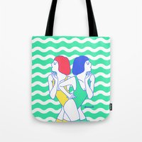 girls Tote Bags featuring Girls by afrancesado
