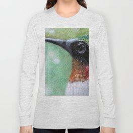 Ruby Throated Hummingbird Original Art Long Sleeve T-shirt
