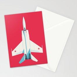 MiG-25 Foxbat Interceptor Jet Aircraft - Crimson Stationery Cards