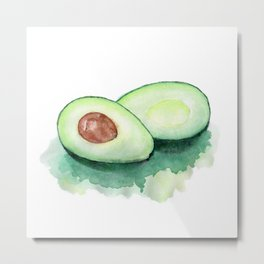 Avocado Watercolor Metal Print
