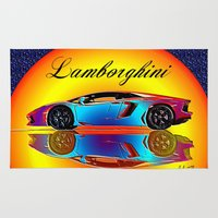 lamborghini Area & Throw Rugs featuring Lamborghini Aventador by JT Digital Art
