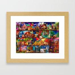 World Traveler Book Shelf Framed Art Print