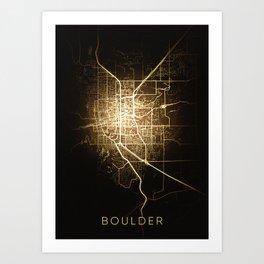 Boulder Colorado city night light map Art Print