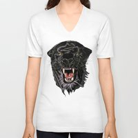 panther V-neck T-shirts featuring Panther by Tish