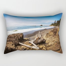 Remnants - Driftwood Logs Come to Rest on Shore of Washington Coast Rectangular Pillow
