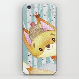 Winter Woodland Friends Fox Snowy Forest Illustration iPhone Skin