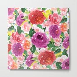 Hand painted pink purple watercolor roses floral Metal Print