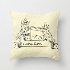 London Bridge in Skecth Throw Pillow
