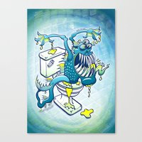 toilet Canvas Prints featuring Toilet Monster by Zoo&co on Society6 Products