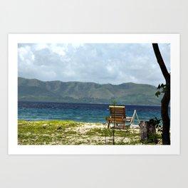 Beach, Chair, Mountains Art Print