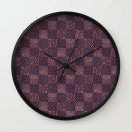Hand Drawn Geometric Square Pattern Design - Burgundy Wall Clock