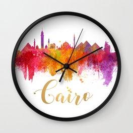 Cairo Skyline Egypt Watercolor cityscape Wall Clock