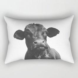 Western Black Angus Cow Portrait Rectangular Pillow