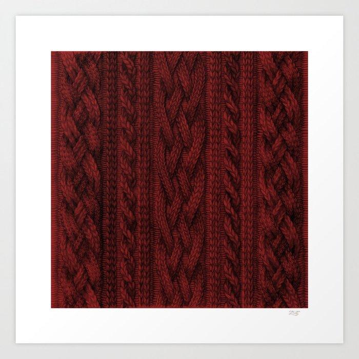 Cardinal Red Cable Knit Kunstdrucke