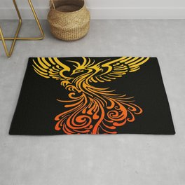 Rising From The Ashes Detailed Phoenix Flame Ombre Rug