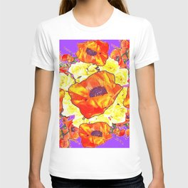 ABSTRACTED ORANGE POPPIES FLORAL LILAC YELLOW T-shirt