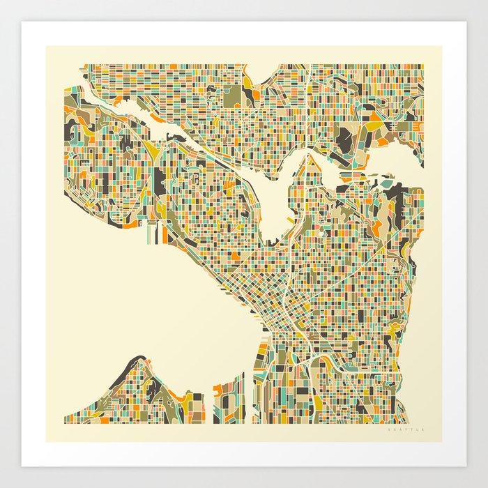 Seattle Map Art Print By Jazzberryblue Society6