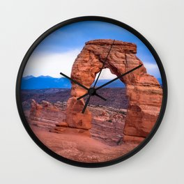 Delicate - Delicate Arch Glows on Rainy Day in Utah Desert Wall Clock