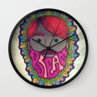 beard Wall Clocks featuring BEARD by kikkerART