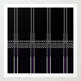 Black White abstract chevron stripes Art Print