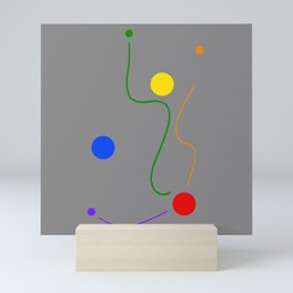 Freedom dots and lines design on grey background Mini Art Print